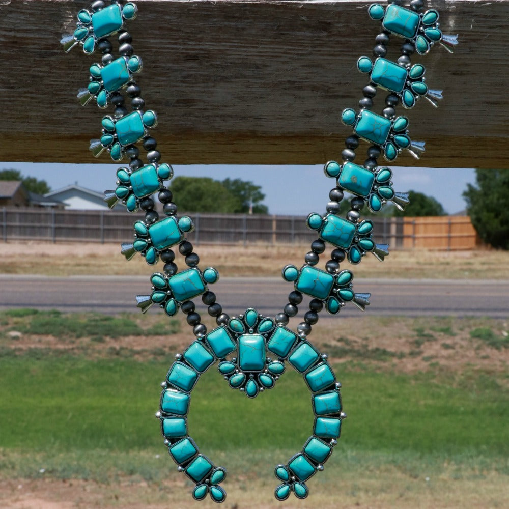 Turquoise Stone Squash Blossom Necklace Set