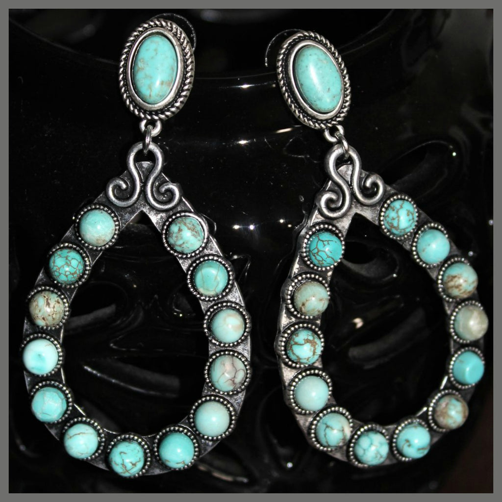 Texas Teardrop Turquoise Earrings