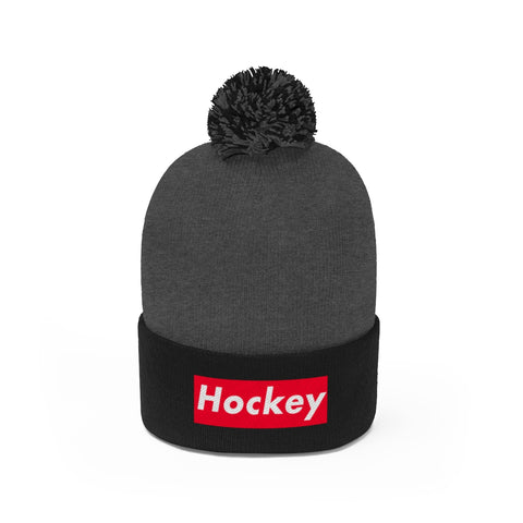 """Hockey"" Block Pom Pom Beanie"