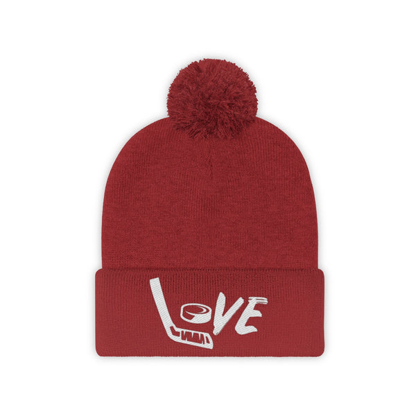 Love Hockey Pom Pom Beanie