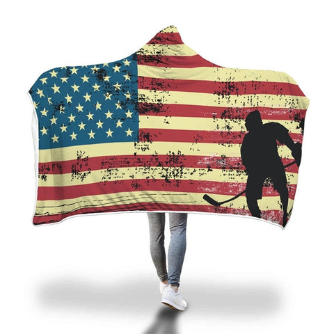 American Hockey Hooded Blanket Winter Soft Blanket Double Layer Fleece