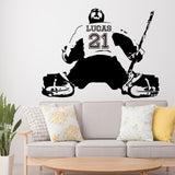 New Arrivel Custom Name And Number Personalized Hockey Player Wall Sticker Home Decor For Living Room Art Decal wallsticker