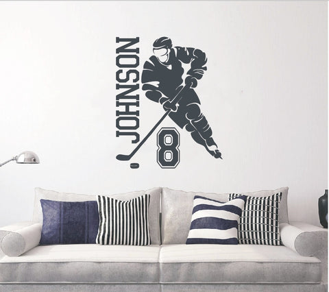 Custom Name & Number HOCKEY PLAYER Vinyl Wall Decal