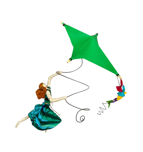 Ginger with her Bright Green Kite