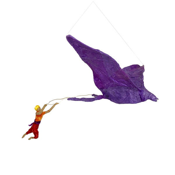 Elfin Being with Big Purple Bird