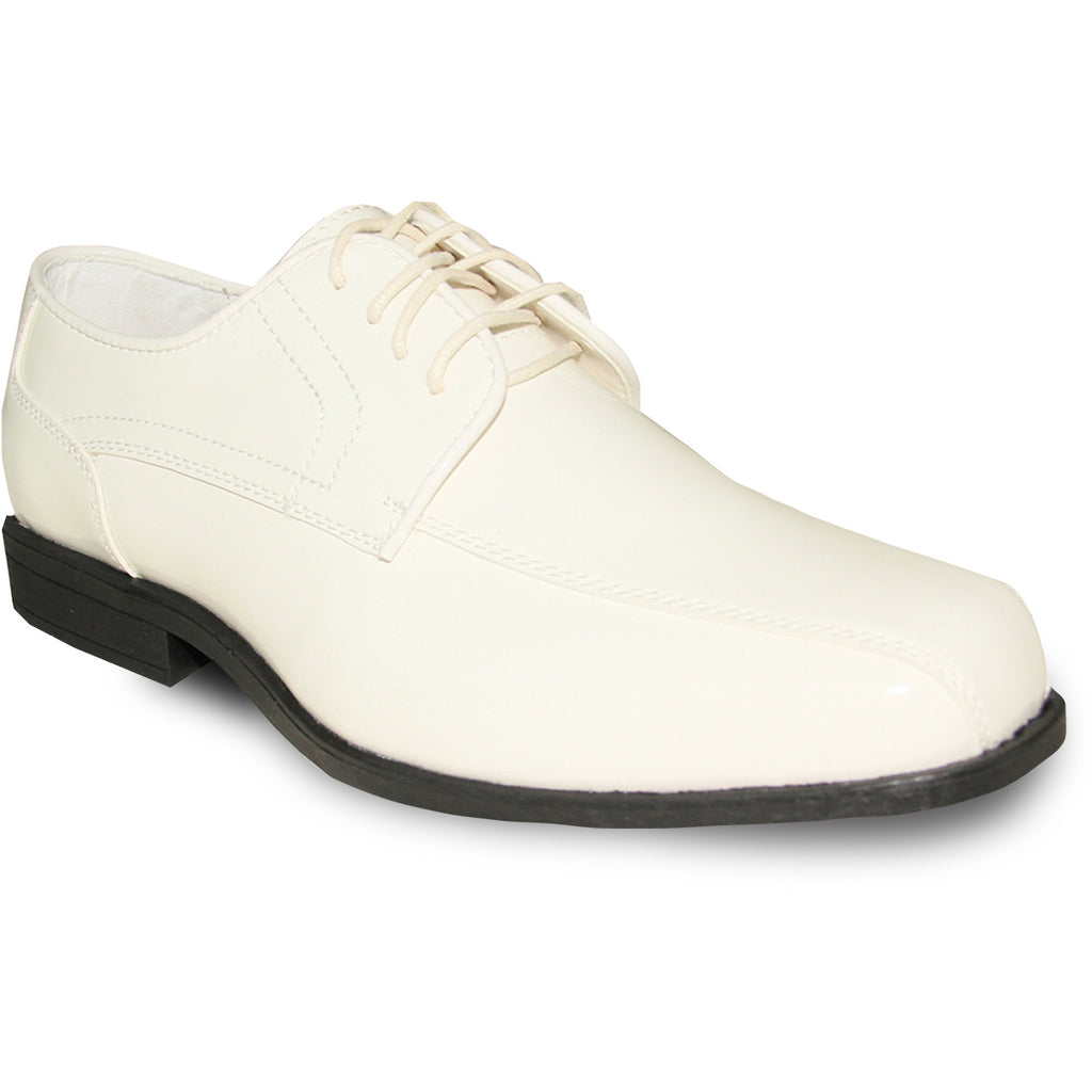 JEAN YVES Men Dress Shoe JY02 Oxford Formal Tuxedo for Prom & Wedding Shoe Ivory Patent - Wide Width Available