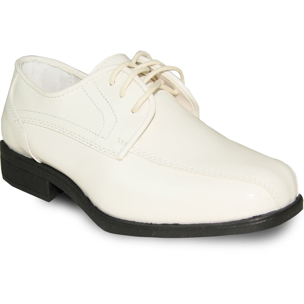 JEAN YVES Boy JY02KID Dress Shoe Formal Tuxedo for Prom & Wedding Ivory Patent