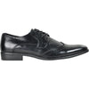 BRAVO Men Dress Shoe KING-2 Wingtip Oxford Shoe Black - Wide Width Available