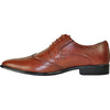 BRAVO Men Dress Shoe KING-2 Wingtip Oxford Shoe Brown - Wide Width Available