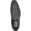 BRAVO Men Dress Shoe KING-3 Wingtip Oxford Shoe Grey - Wide Width Available