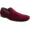 BRAVO Men Dress Shoe KLEIN-7 Loafer Shoe Burgundy Red Velvet