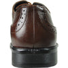 BRAVO Men Dress Shoe MILANO-1 Wingtip Oxford Shoe Brown