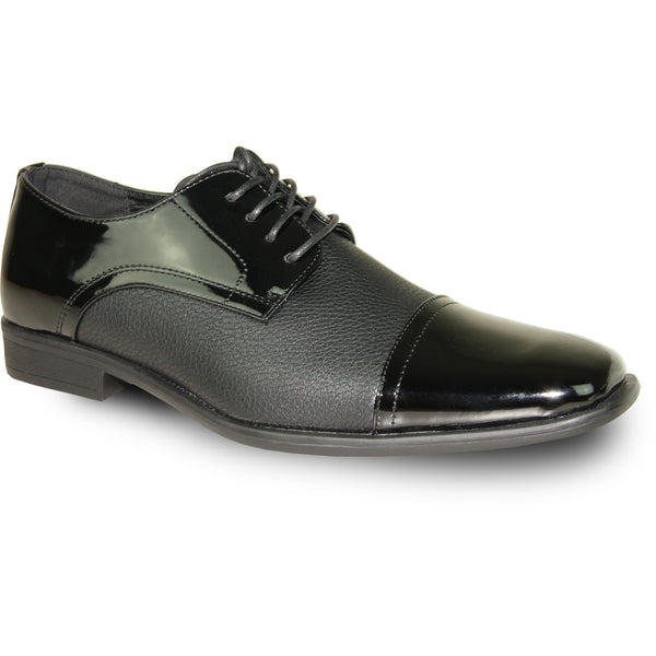 BRAVO Men Dress Shoe NEW KELLY-2 Oxford Shoe Black Patent - Wide Width Available