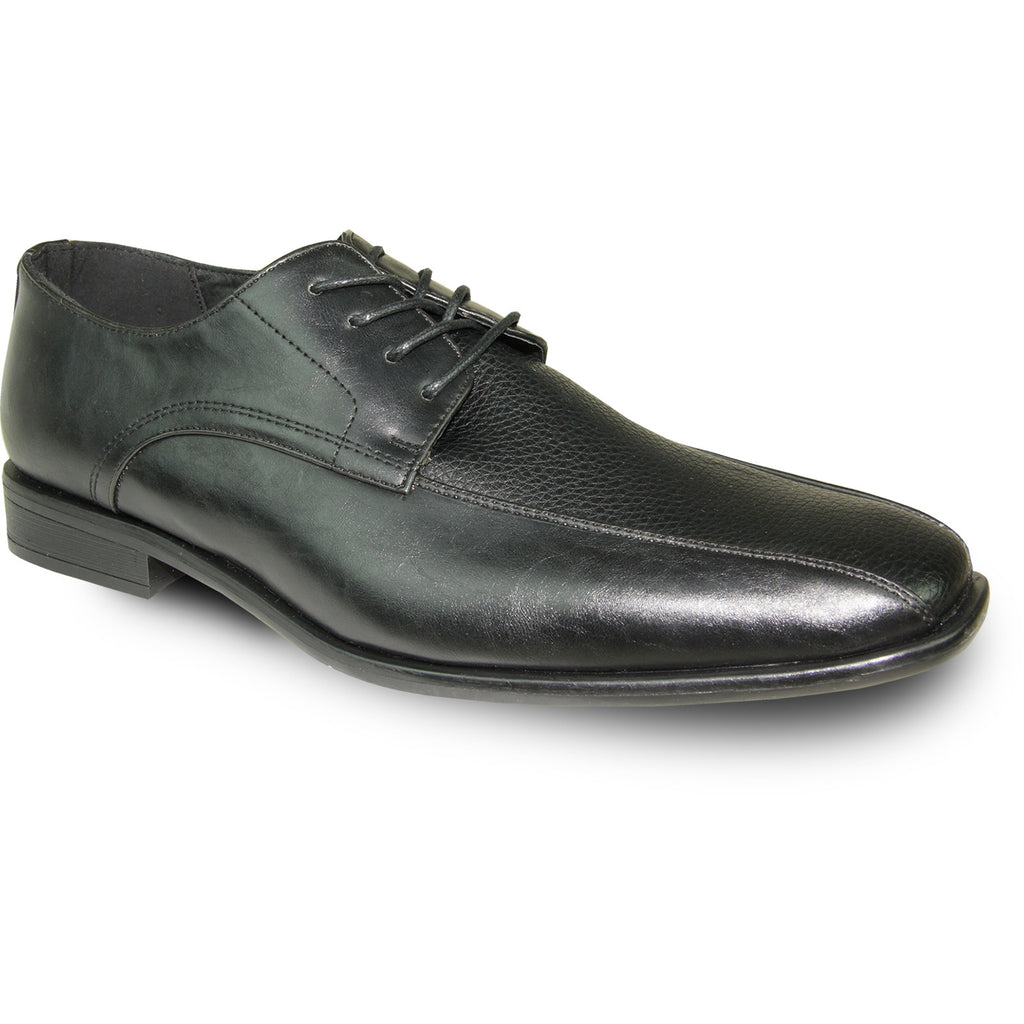 BRAVO Men Dress Shoe NEW KELLY-3 Oxford Shoe Black Matte - Wide Width Available
