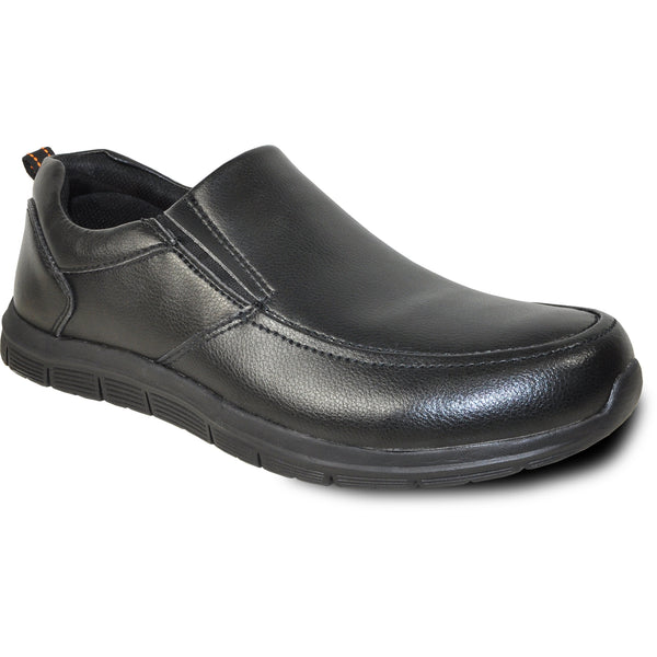 VANGELO Men Slip Resistant Shoe NICK-3 Black  - Wide Width Available