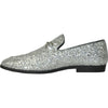BRAVO Men Dress Shoe PROM-1 Loafer Shoe for Prom & Wedding Silver