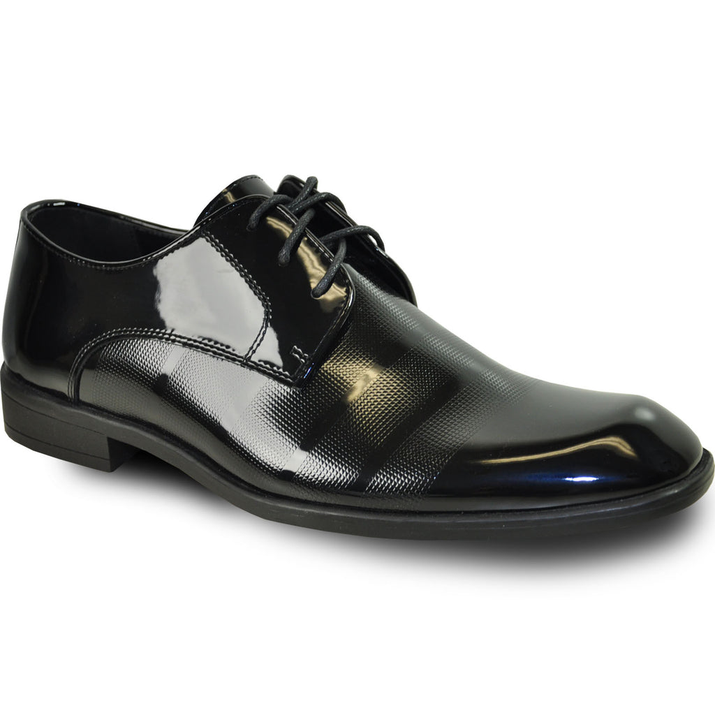 VANGELO Men Dress Shoe ROCKEFELLER Oxford Formal Tuxedo for Prom & Wedding Black Patent - Wide Width Available