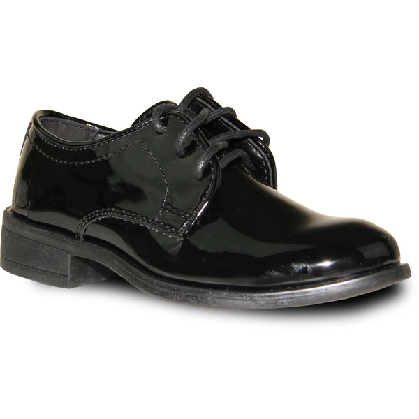 VANGELO Boy TAB-1KID Dress Shoe Formal Tuxedo for Prom & Wedding Black Patent