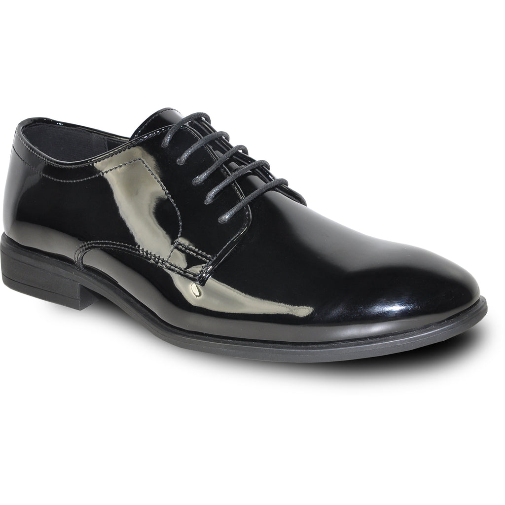 VANGELO Men Dress Shoe TAB-1 Oxford Formal Tuxedo for Prom & Wedding Black Patent - Wide Width Available