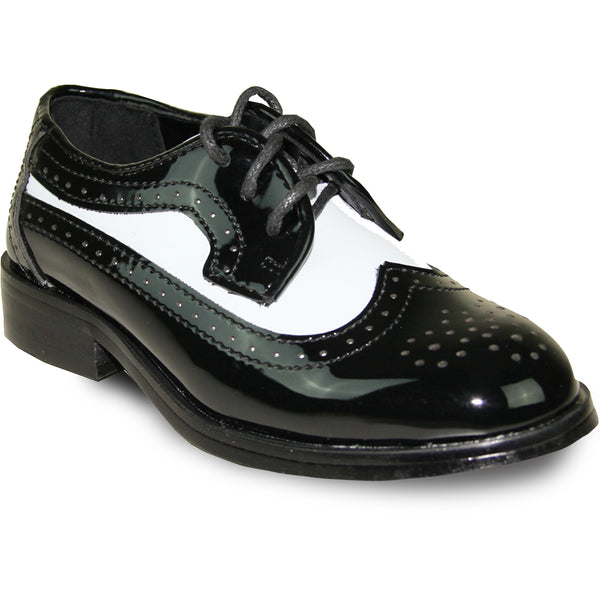 VANGELO Boy  Dress Shoe TAB-3KID Oxford Formal Tuxedo for Prom & Wedding Black/White Patent Two Tone