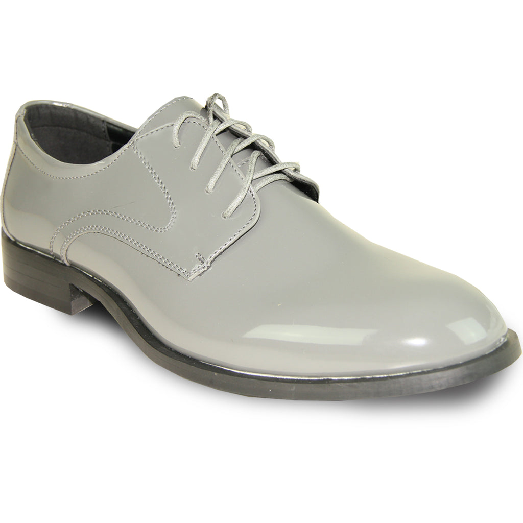 VANGELO Men Dress Shoe TAB Oxford Formal Tuxedo for Prom & Wedding Grey Patent - Wide Width Available