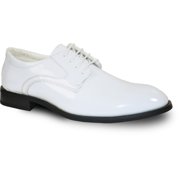 VANGELO Men Dress Shoe TAB Oxford Formal Tuxedo for Prom & Wedding White Patent - Wide Width Available
