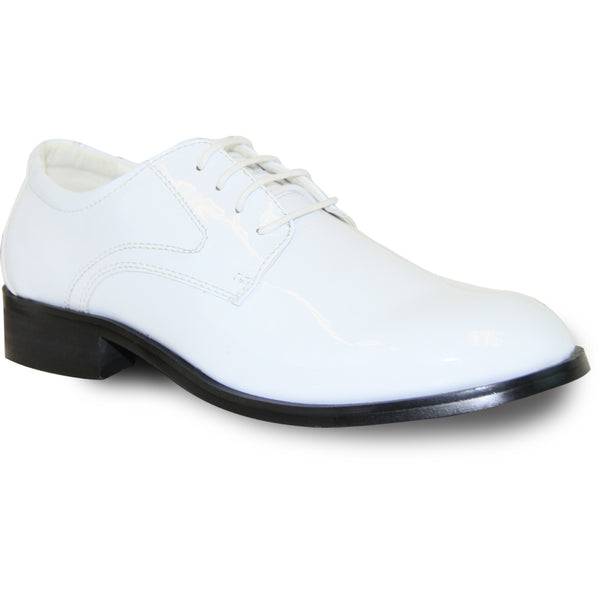 VANGELO Boy TABKID Dress Shoe Formal Tuxedo for Prom & Wedding White Patent