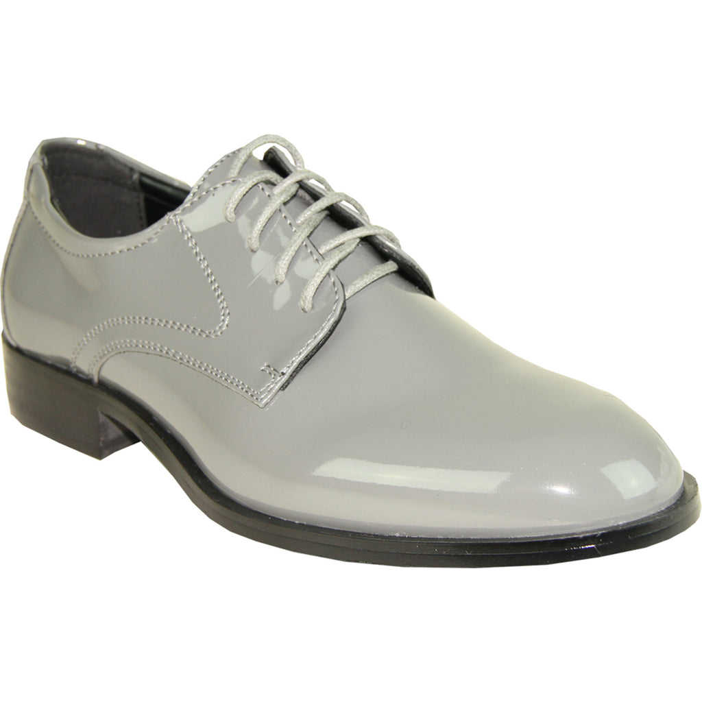 VANGELO Boy TABKID Dress Shoe Formal Tuxedo for Prom & Wedding Grey Patent