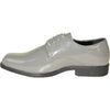 VANGELO Men Dress Shoe TUX-1 Oxford Formal Tuxedo for Prom & Wedding Grey Patent - Wide Width Available