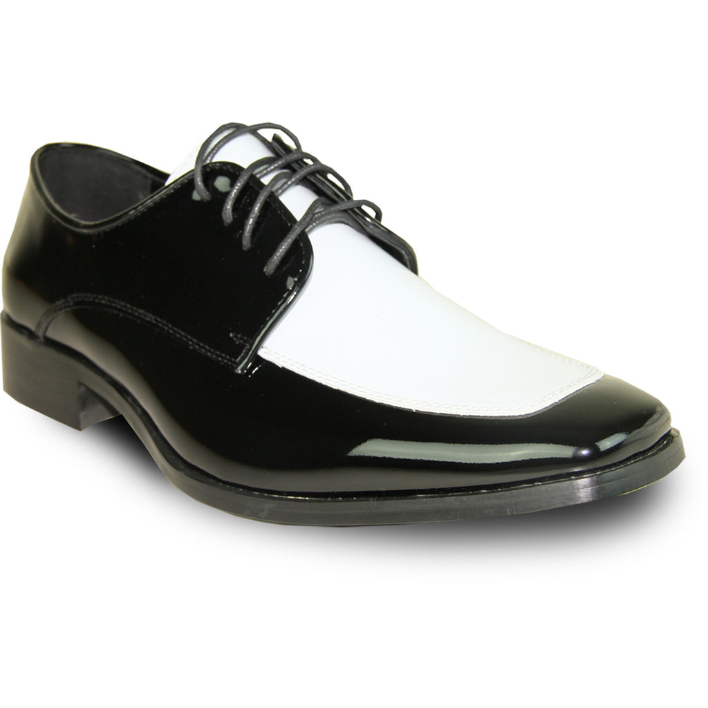 VANGELO Men Dress Shoe TUX-3 Oxford Formal Tuxedo for Prom & Wedding Shoe Black/White Patent Two Tone - Wide Width Available
