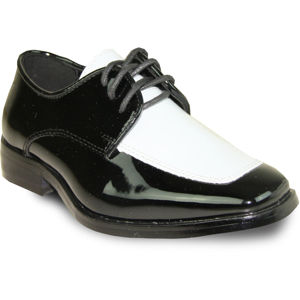 VANGELO Boy TUX-3KID Dress Shoe Formal Tuxedo for Prom & Wedding Black/White Patent Two Tone