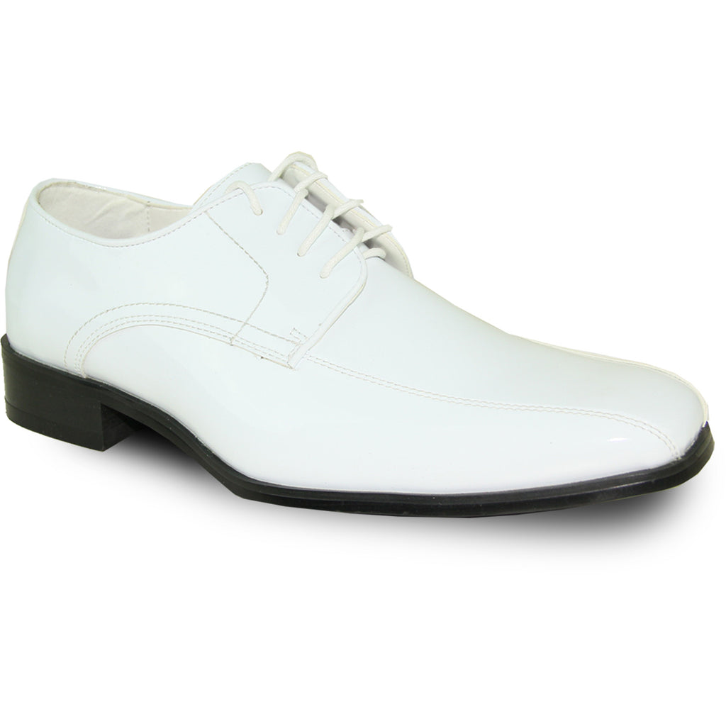 VANGELO Men Dress Shoe TUX-5 Oxford Formal Tuxedo for Prom & Wedding White Patent - Wide Width Available