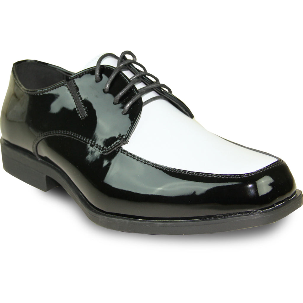 VANGELO Men Dress Shoe TUX-7 Oxford Formal Tuxedo for Prom & Wedding Shoe Black/White Patent Two Tone - Wide Width Available