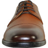 VANGELO Men Dress Shoe VALLO-4 Oxford Formal Tuxedo for Prom and Wedding Brown Matte - Wide Width Available - Ortholite Insole