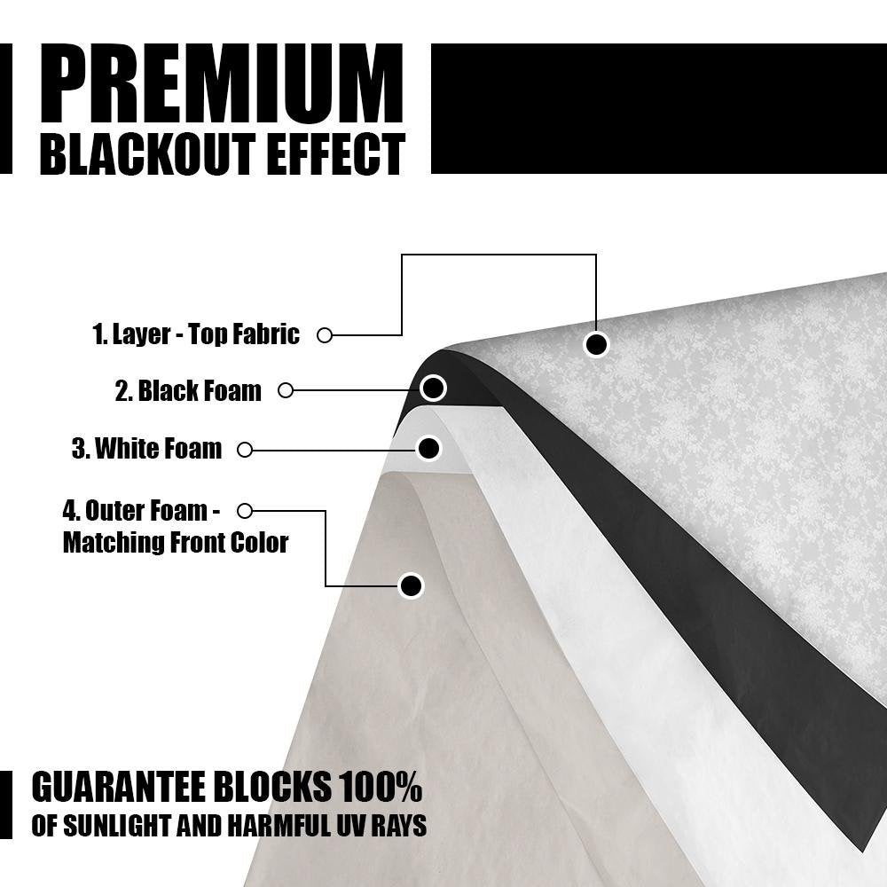 Sleep Better With True 100% Blackouts - Warm Home Designs Thermal 4 Layer Total Blackout Charcoal Curtains Will Make Any Room In The House Pitch Black.