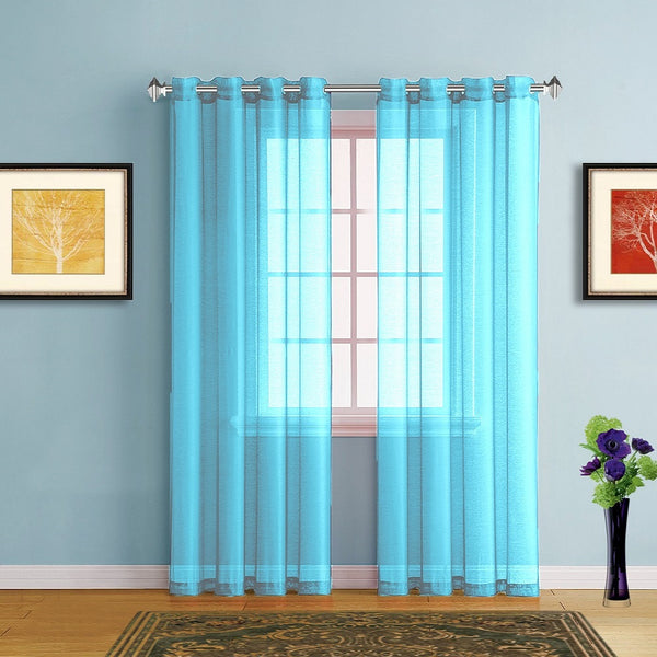 Warm Home Designs 1 Pair of Aqua Blue Voile Sheer Window Curtains with Grommet Top