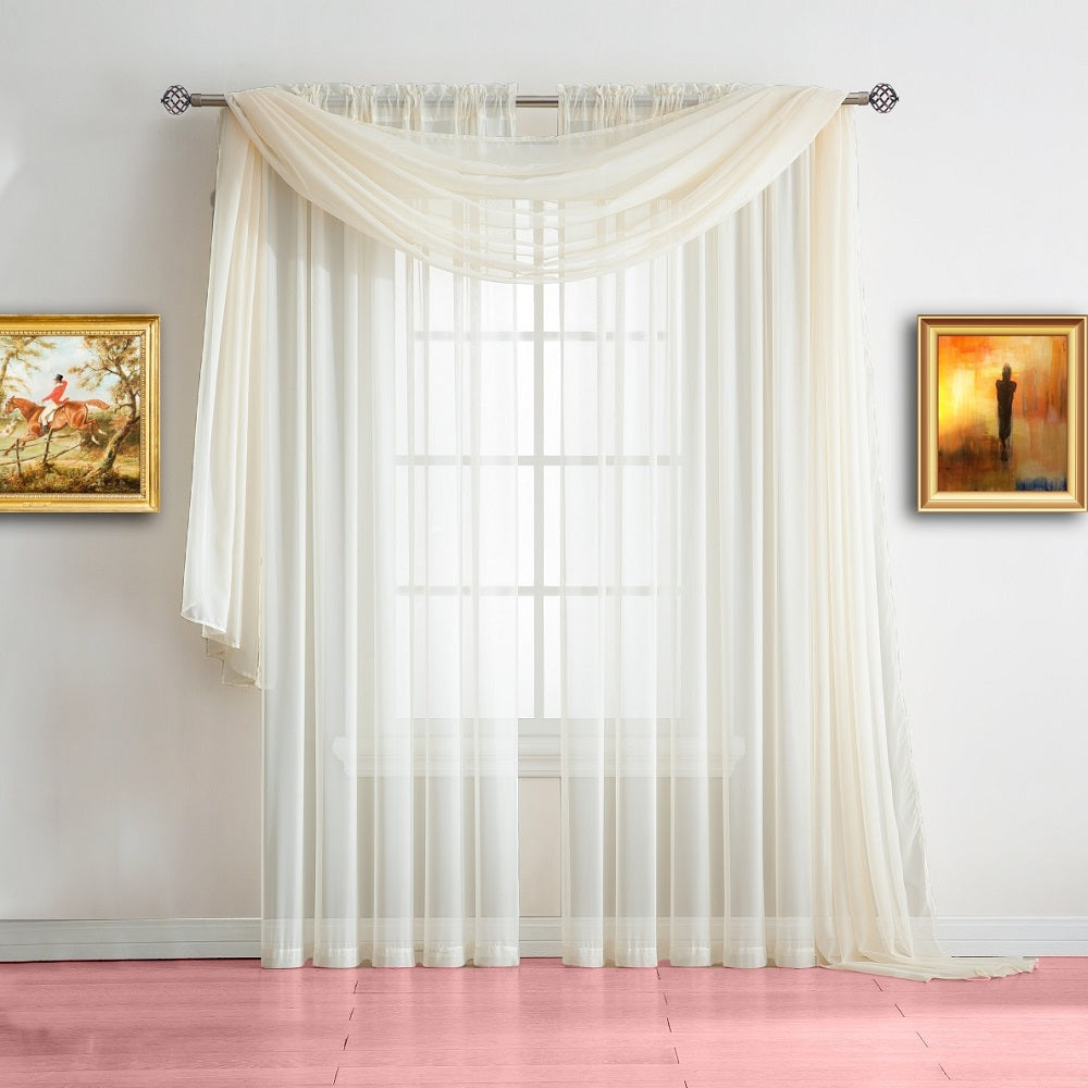 Warm Home Designs Pair of Beige Sheer Curtains or Extra Long Window Scarf