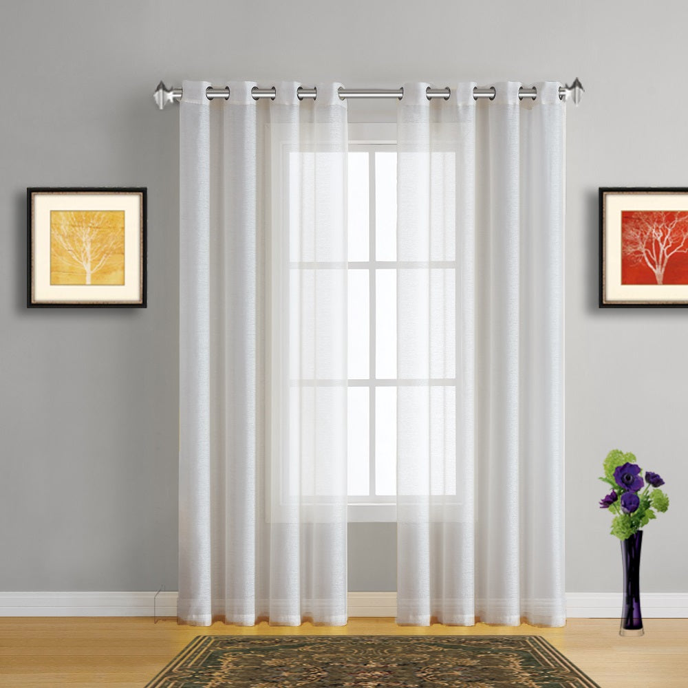Window With Curtains Pic: Warm Home Designs Beige Sheer Curtains & Beige Window