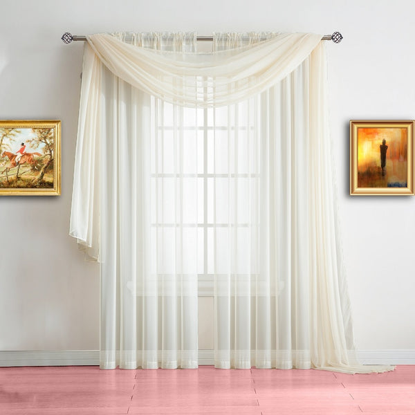 Home Design Ideas Curtains: Warm Home Designs Beige Window Scarf Valance, Sheer Beige