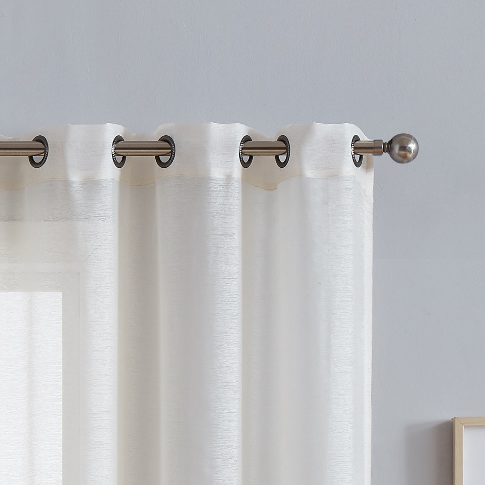 Warm Home Designs 1 Pair of Beige Sheer Window Curtains with Grommets