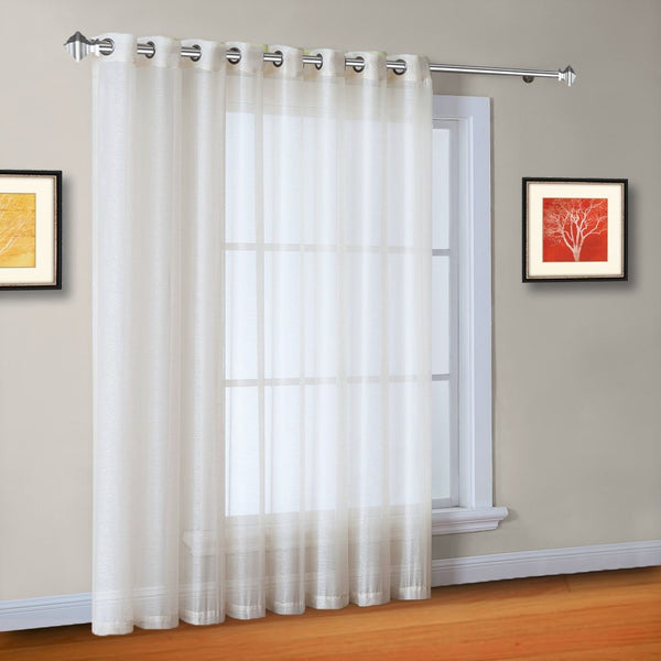 "Warm Home Designs 1 Panel of 102"" Extra Wide Linen Textured Sheer Beige Patio Door Curtains"