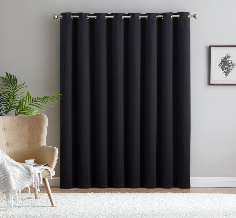 "Warm Home Designs Extra-Wide Blackout 102"" Black Patio Door Curtains"