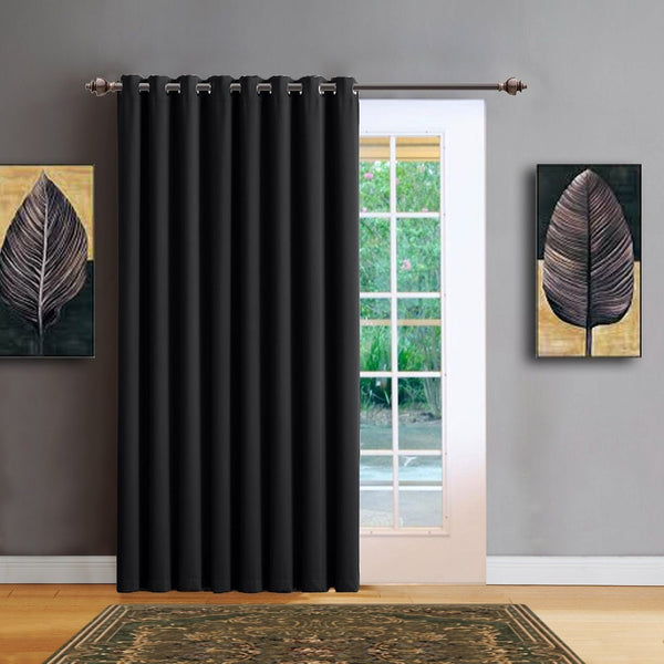 "Warm Home Designs 102"" Wide Black Room Dividers & Patio Door Curtains"
