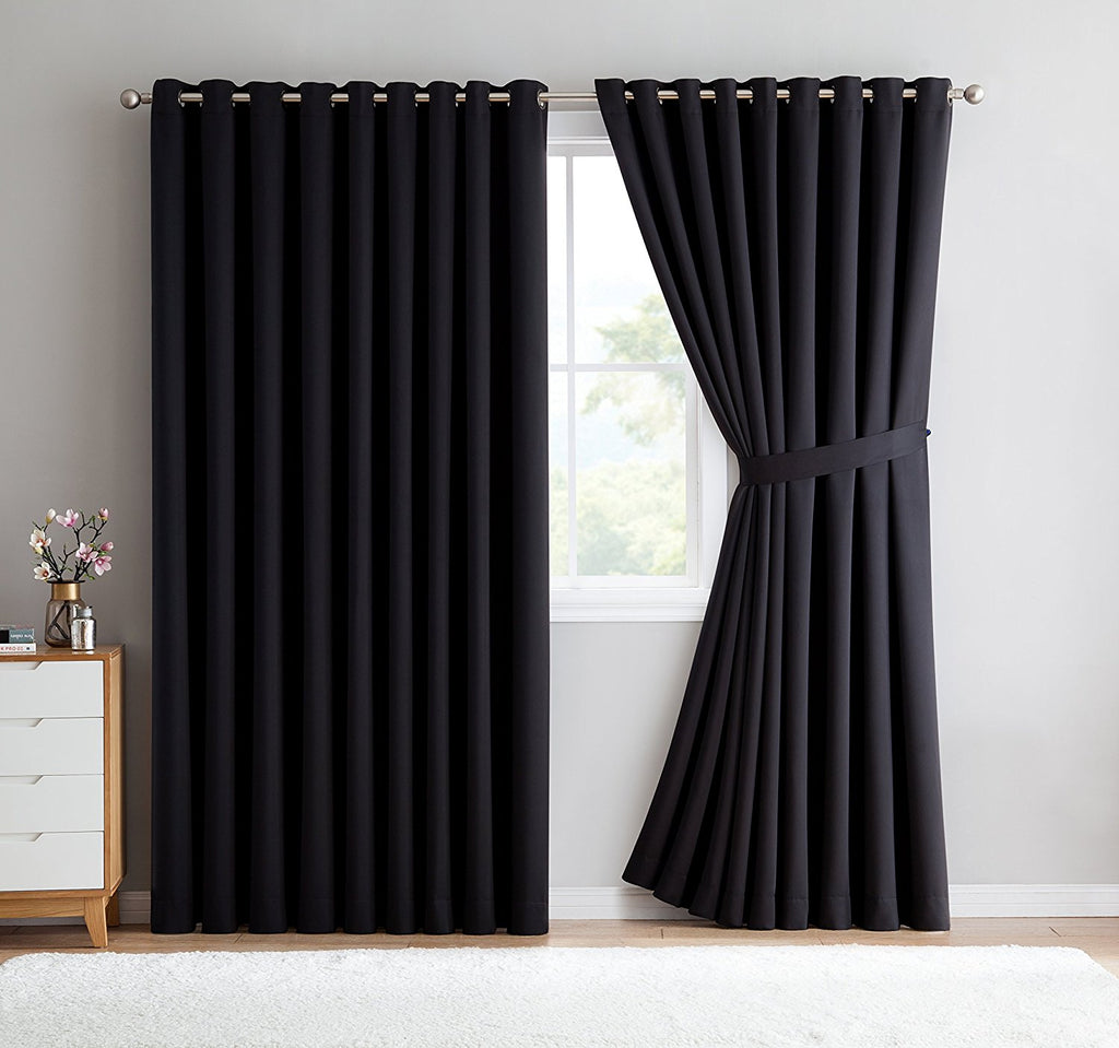 Warm Home Designs Extra-Wide Black Patio Door Curtains & Wall-to-Wall Room Dividers