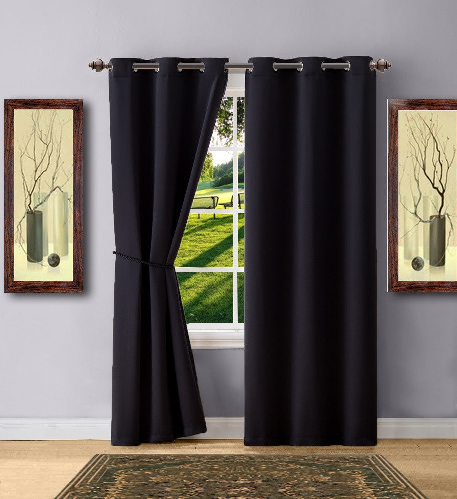 Warm Home Designs Black Color Blackout Curtain Panels, Pairs & Valances with Matching Tie-Backs in 7 Sizes