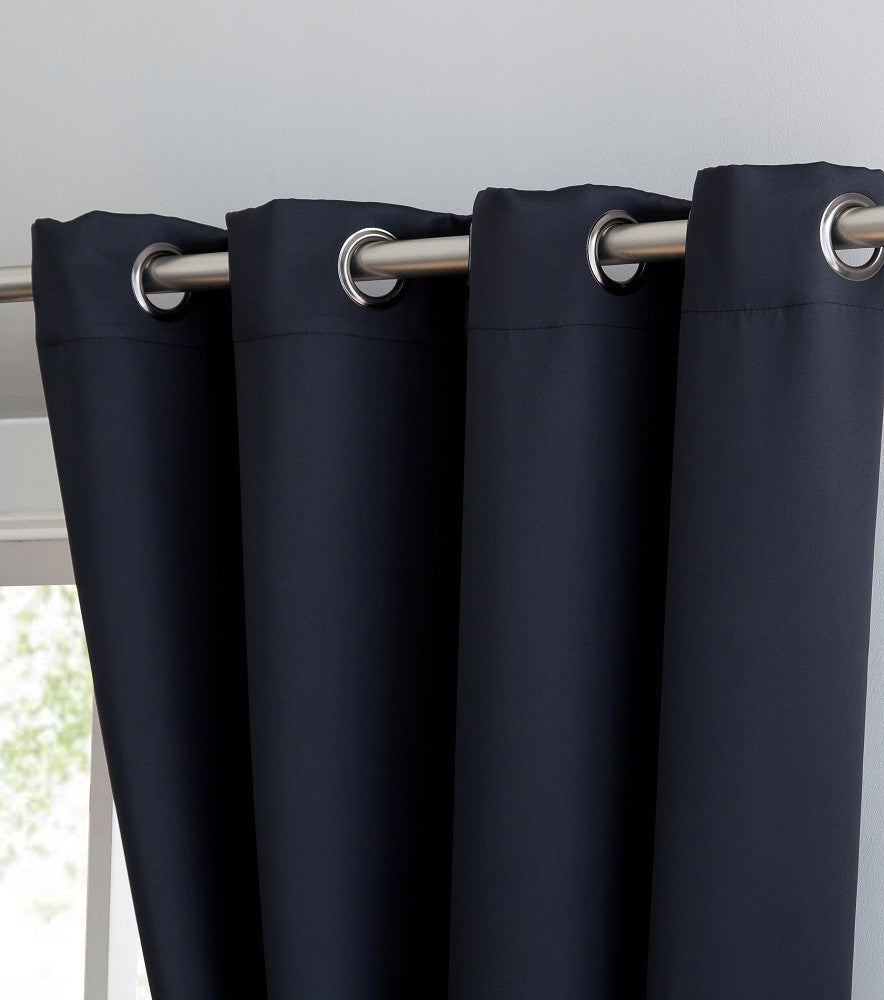 "Extra-Wide Blackout 102"" Black Patio Door Curtains or Room Dividers"