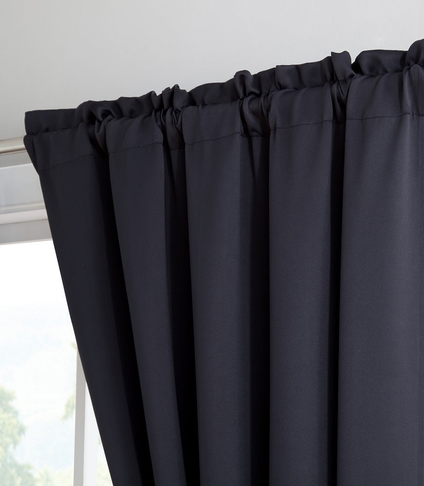 Warm Home Designs Pair of Black Room Darkening Curtains with 2 Tie-Backs in 63, 84, 96 & 108 Inch Length