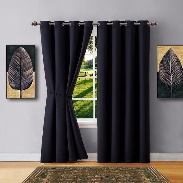 Warm Home Designs Black Blackout Curtains, Valance Scarves, Tie-Backs