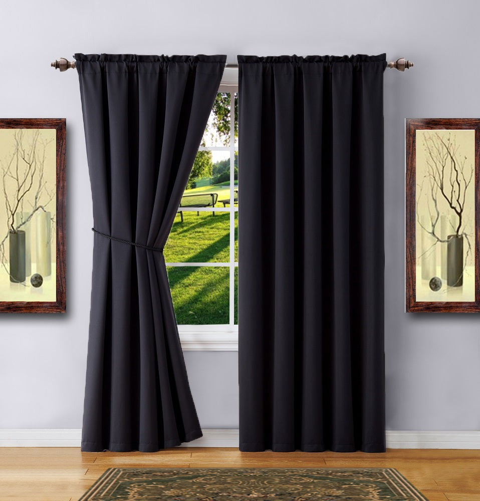 Warm Home Designs Pair of Black Room Darkening Curtains & 2 Tie-Backs