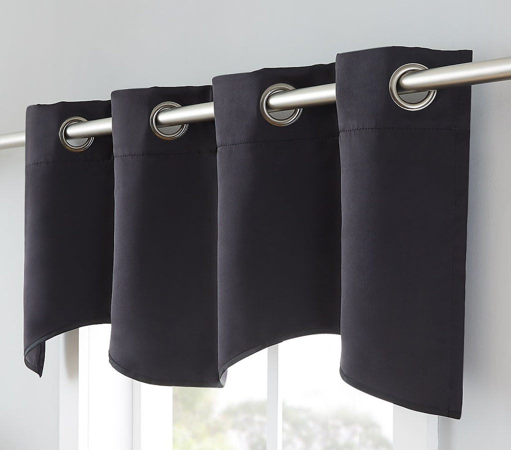 Warm Home Designs Black Color Blackout Curtain Panels, Pairs & Valances with Tie-Backs in 8 Sizes